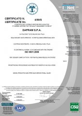 Certificate ISO 9001:2008 for design, production and after sales of ball valves