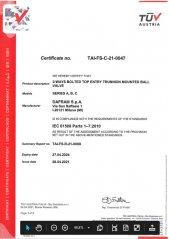 SIL Certificate for Top Entry Ball Valves